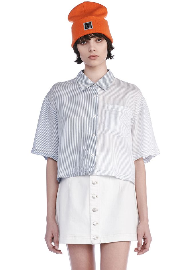 T by ALEXANDER WANG TOPS WASHED STRIPE VISCOSE COLLARED SHORT SLEEVE SHIRT