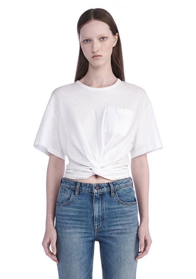 Alexander wang front twist short sleeve tee top official for Alexander wang t shirt women