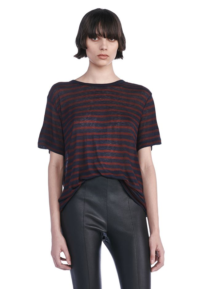 T by ALEXANDER WANG TOPS STRIPE RAYON LINEN SHORTSLEEVE TEE
