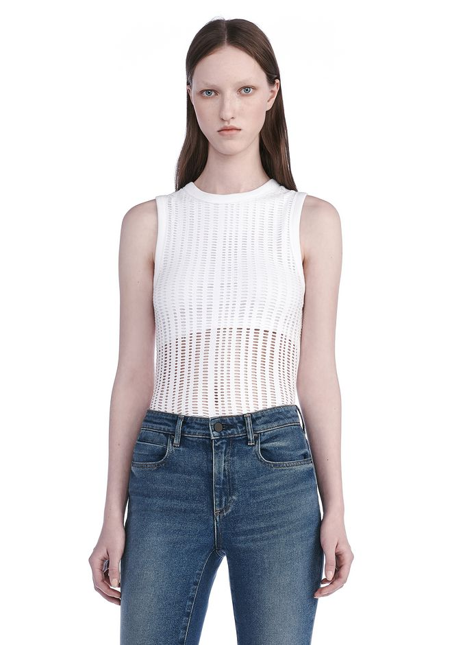 T by ALEXANDER WANG TOPS STRETCH JACQUARD TANK TOP
