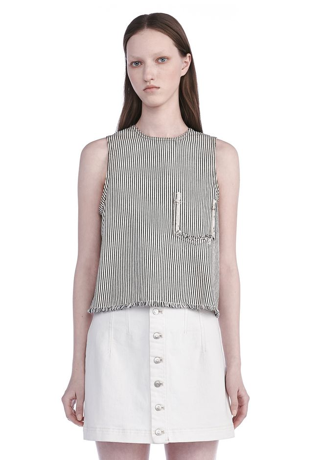 T by ALEXANDER WANG t-by-alexander-wang-sale FRAYED STRIPED TANK TOP