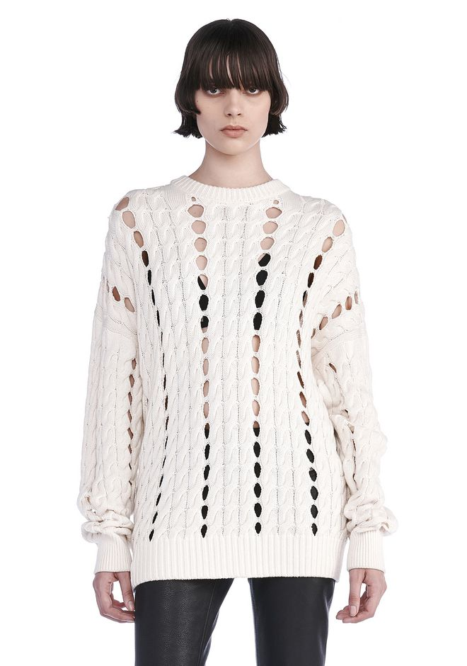 ALEXANDER WANG TOPS Women CABLE KNIT PULLOVER WITH INTARSIA SLITS