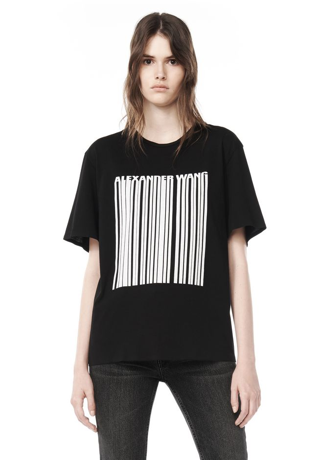 ALEXANDER WANG TOPS Women BOXY T-SHIRT WITH PRINTED BARCODE