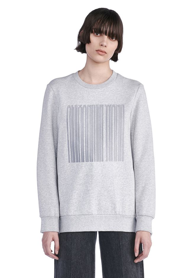ALEXANDER WANG TOPS Women OVERSIZED SWEATSHIRT WITH BARCODE EMBROIDERY