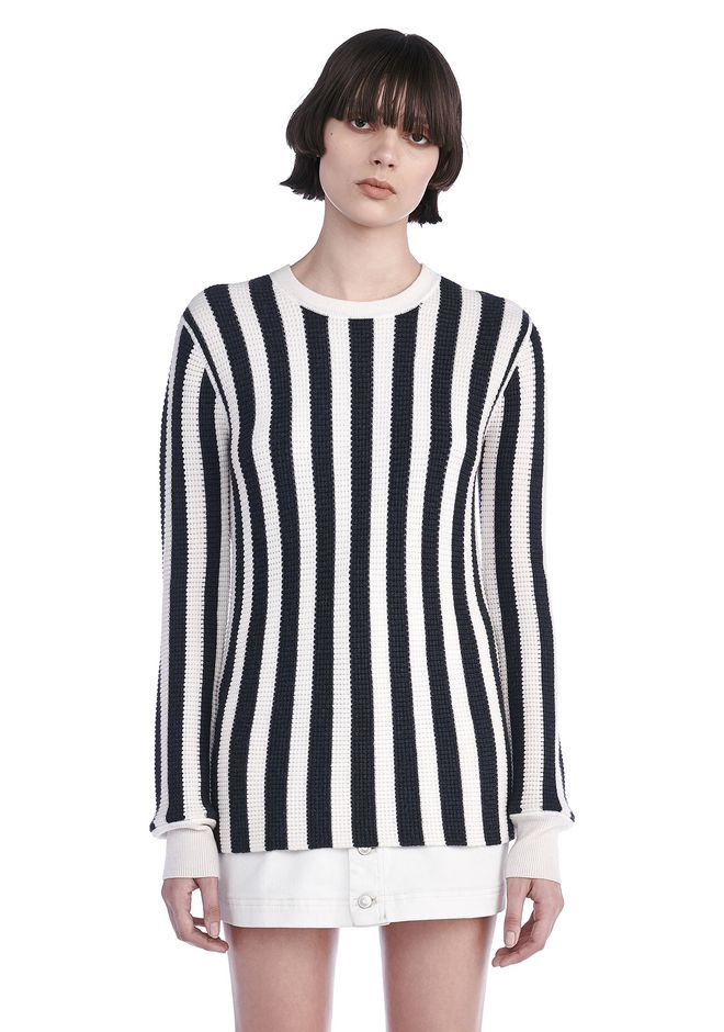 T by ALEXANDER WANG knitwear-t-by-alexander-wang-woman STRIPED WAFFLE KNIT PULLOVER