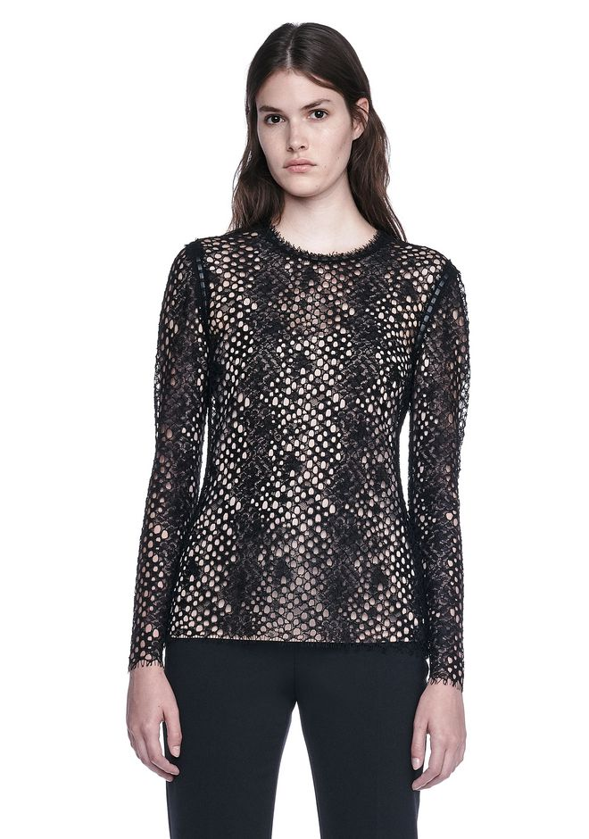 ALEXANDER WANG TOPS LONG SLEEVE LACE TOP