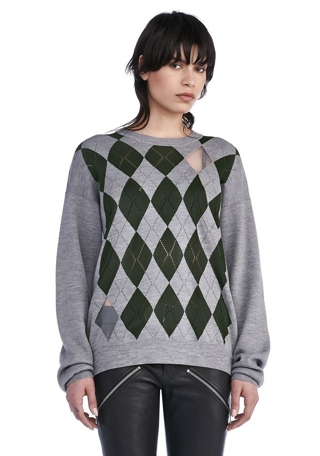 ALEXANDER WANG knitwear-ready-to-wear-woman ARGYLE PULLOVER WITH SHEER INTARSIA DIAMONDS