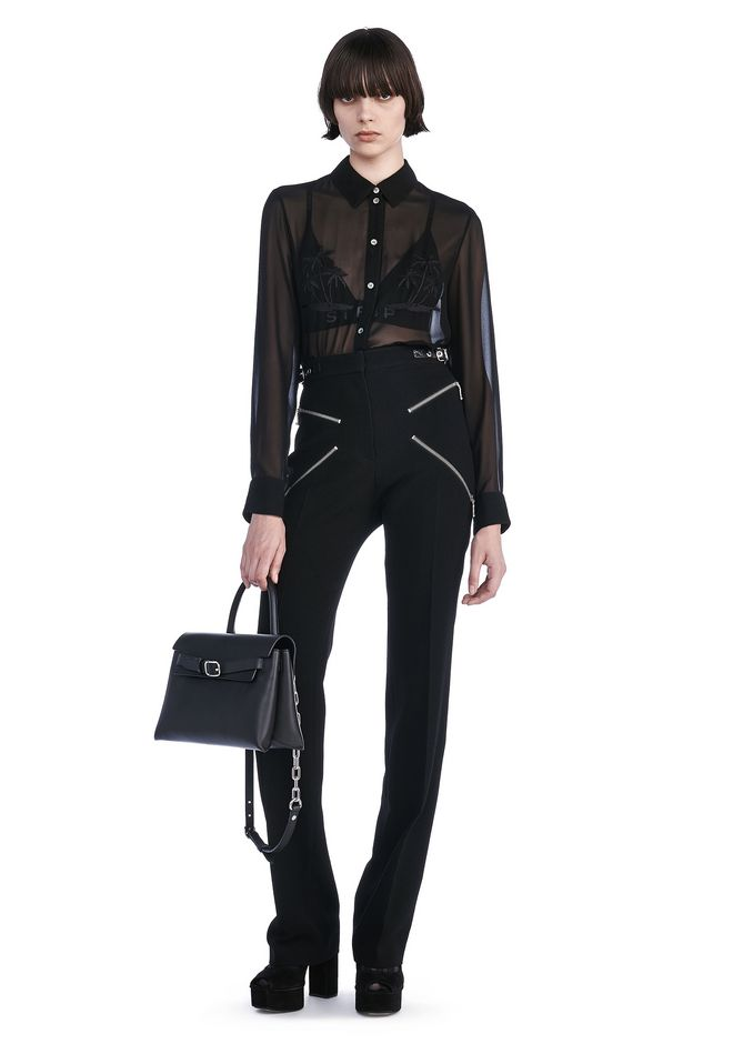 ALEXANDER WANG TOPS COLLARED SHEER SHIRT WITH ENGINEERED EMBROIDERY