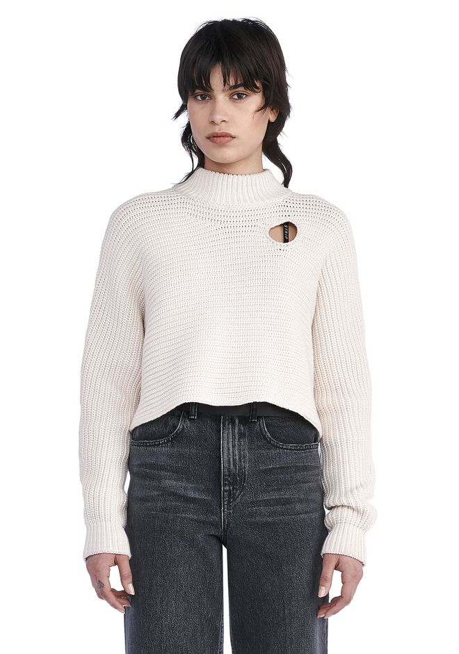 ALEXANDER WANG TOPS Women CROPPED MOCK NECK PULLOVER WITH CUTOUT DETAIL