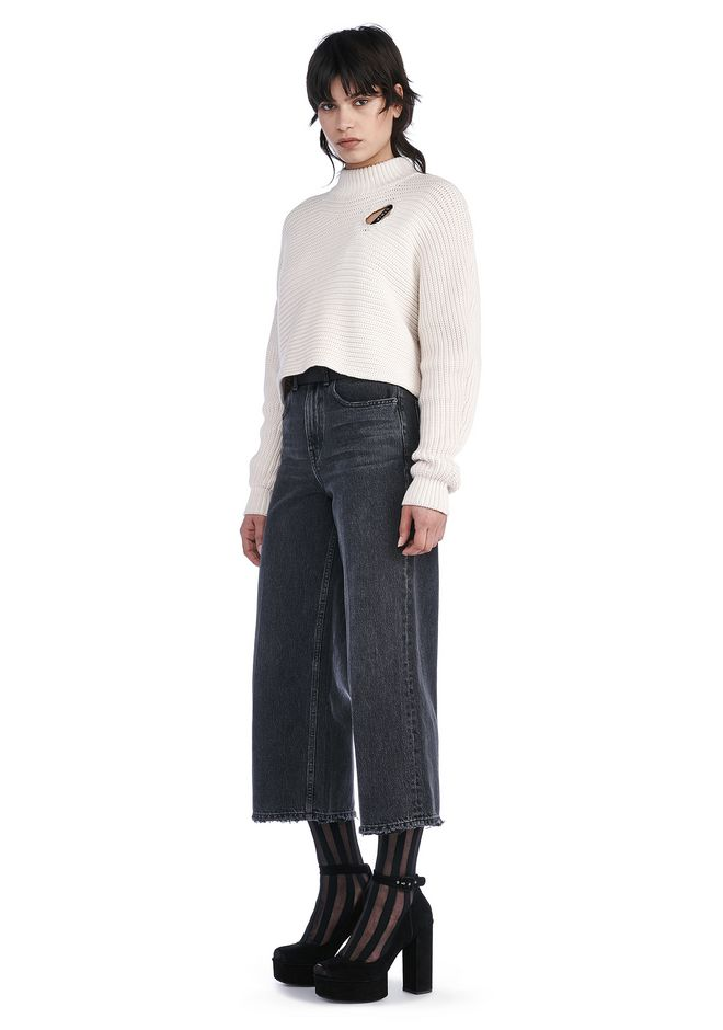 ALEXANDER WANG TOPS CROPPED MOCK NECK PULLOVER WITH CUTOUT DETAIL