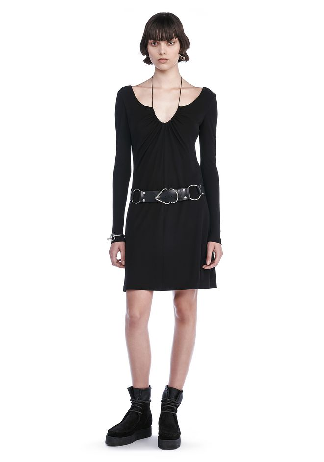 T by ALEXANDER WANG Short Dresses MATTE JERSEY GATHERED TIE LONG SLEEVE DRESS