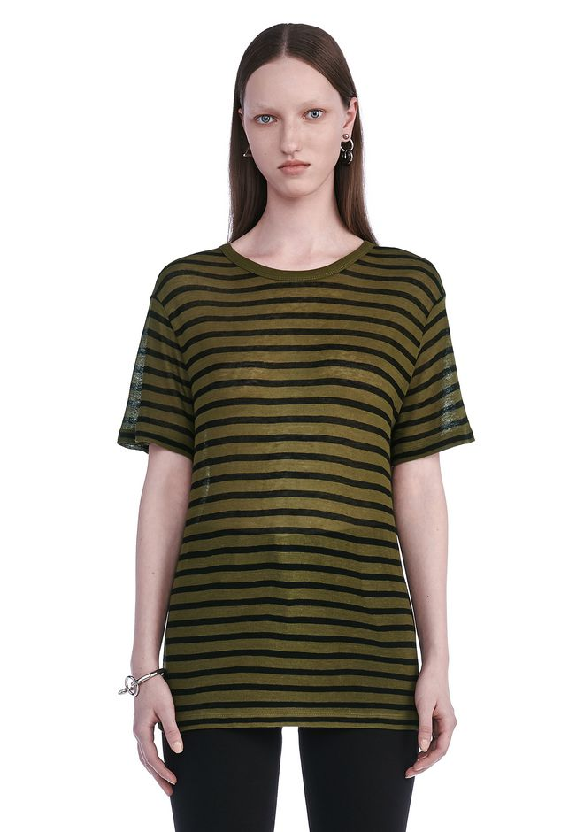 T by ALEXANDER WANG TOPS Women STRIPE LINEN SHORT SLEEVE TEE