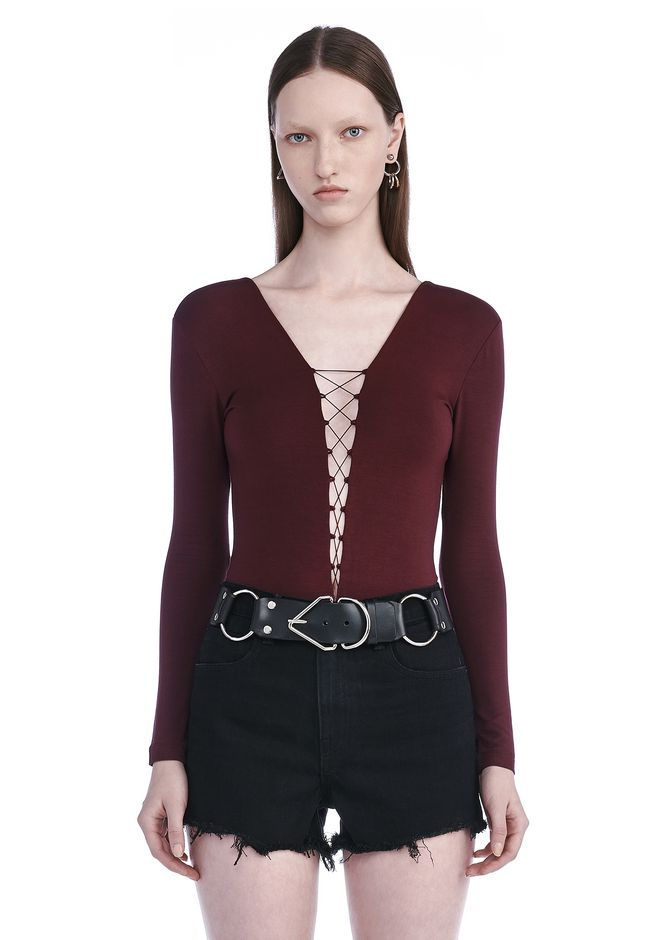 T by ALEXANDER WANG TOPS MODAL SPANDEX LONG SLEEVE BODYSUIT