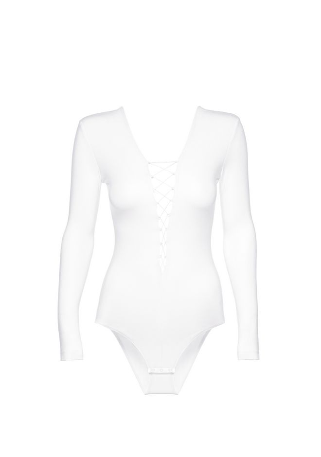 T by ALEXANDER WANG MODAL SPANDEX LONG SLEEVE BODYSUIT TOP Adult 12_n_d