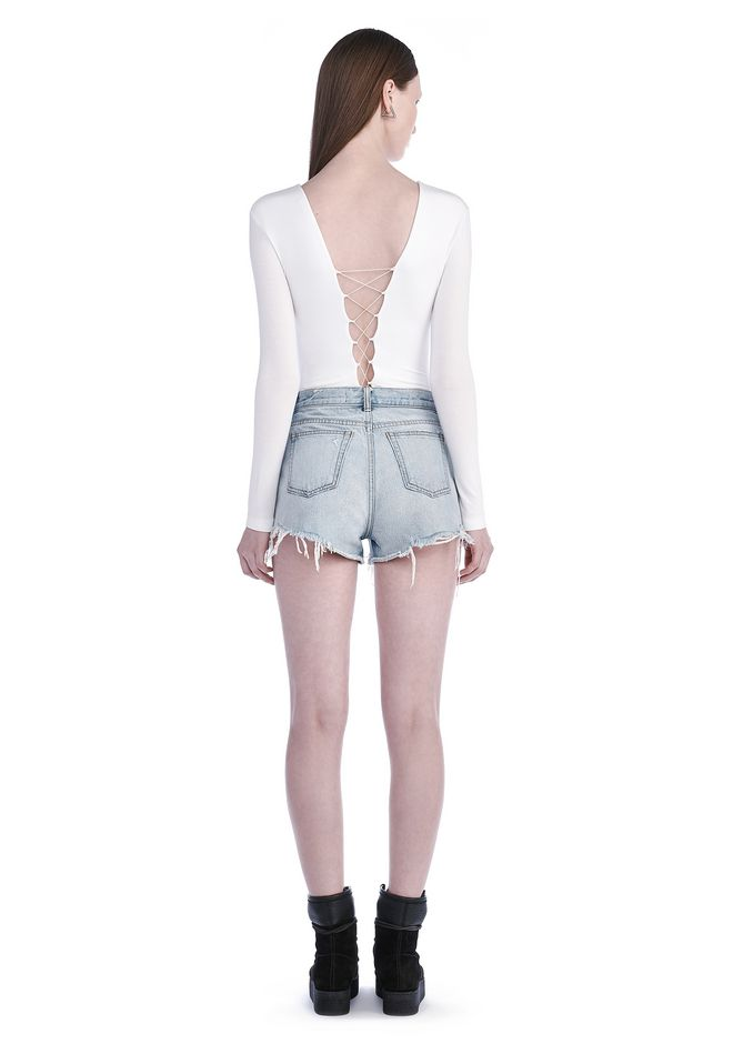 T by ALEXANDER WANG MODAL SPANDEX LONG SLEEVE BODYSUIT TOP Adult 12_n_r