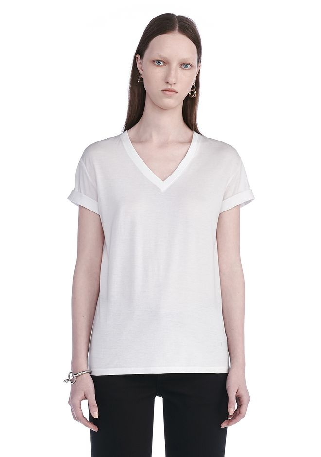 T by ALEXANDER WANG TOPS Women SUPERFINE COTTON V-NECK TEE