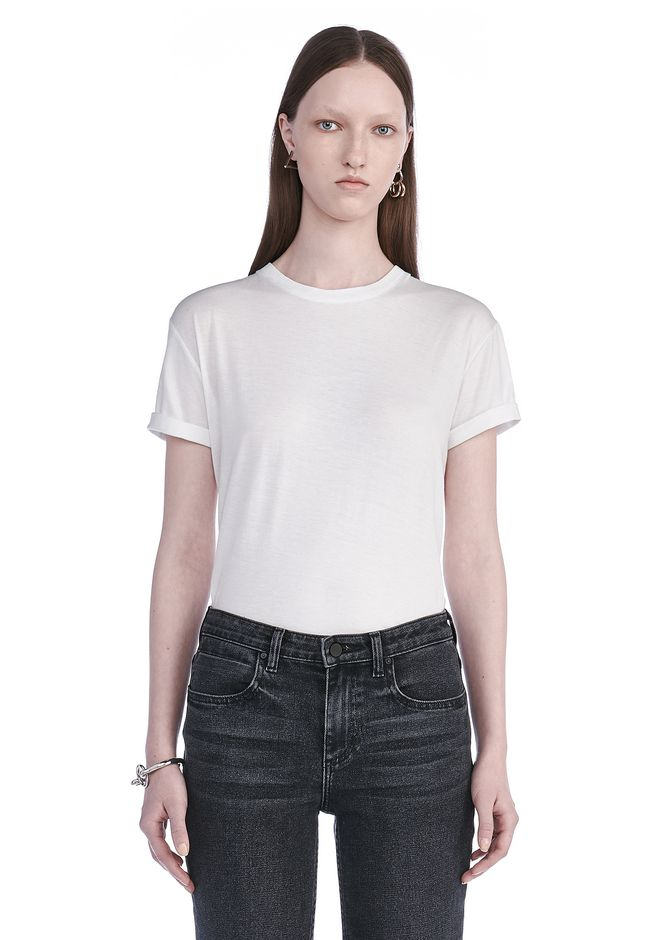 T by ALEXANDER WANG TOPS Women SUPERFINE COTTON CREWNECK TEE