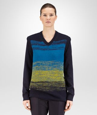 SWEATER IN DARK NAVY ANCIENT GOLD PEACOCK DEGRADE DRY WOOL