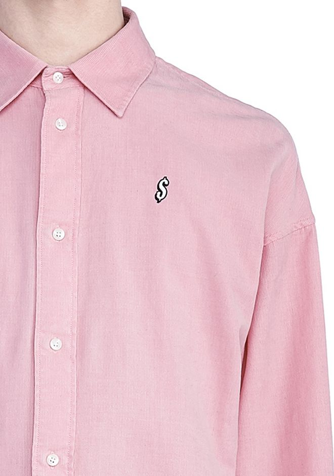 Corduroy shirt with pocket embroidery alexander