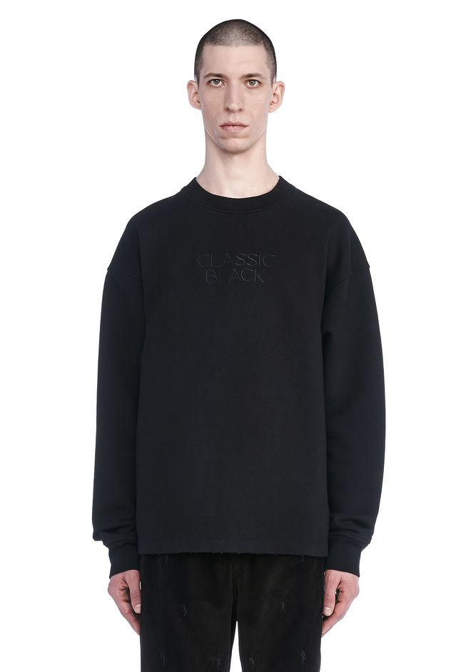 ALEXANDER WANG TOPS Men CLASSIC BLACK EMBROIDERED SWEATSHIRT