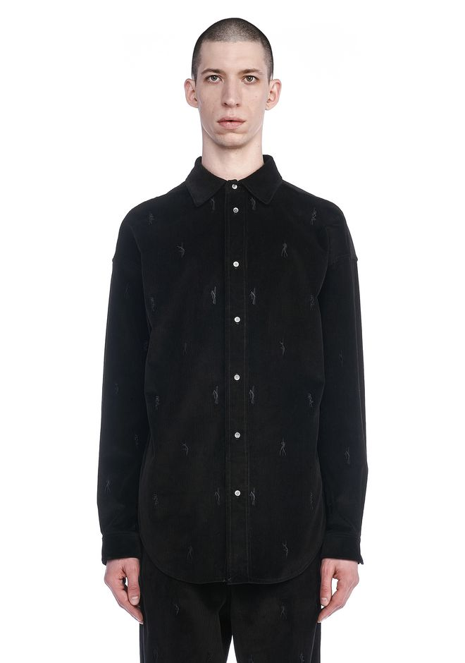 ALEXANDER WANG TOPS Men CORDUROY SHIRT WITH EMBROIDERED DANCERS