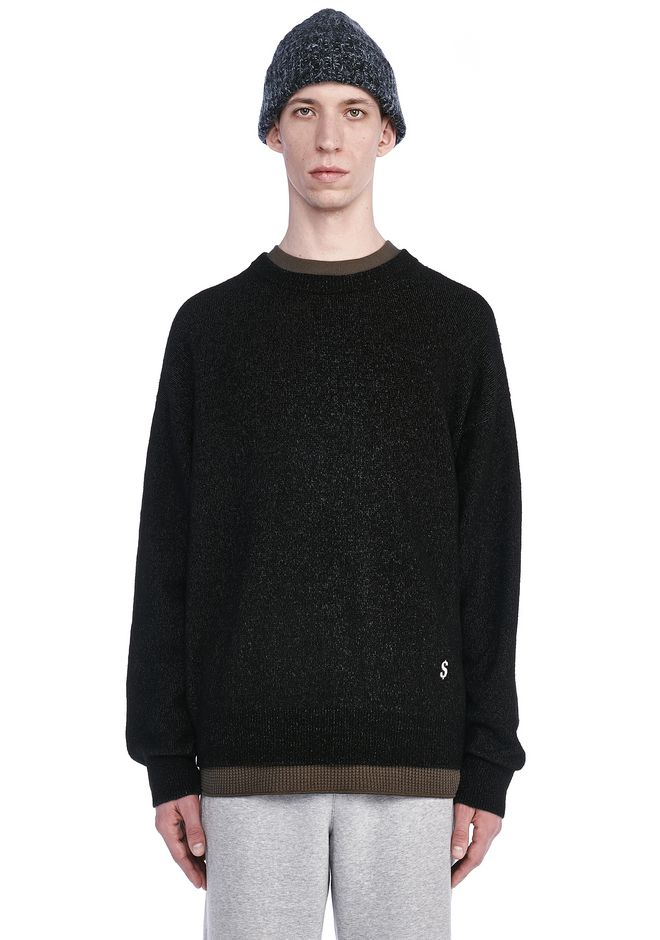 ALEXANDER WANG TOPS Men EMBROIDERED LONG SLEEVE CREWNECK