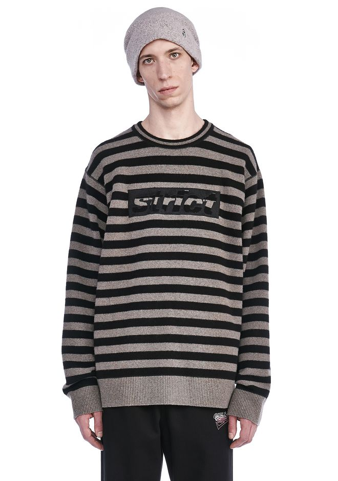 ALEXANDER WANG TOPS Men STRIPED PULLOVER WITH STRICT EMBROIDEREY