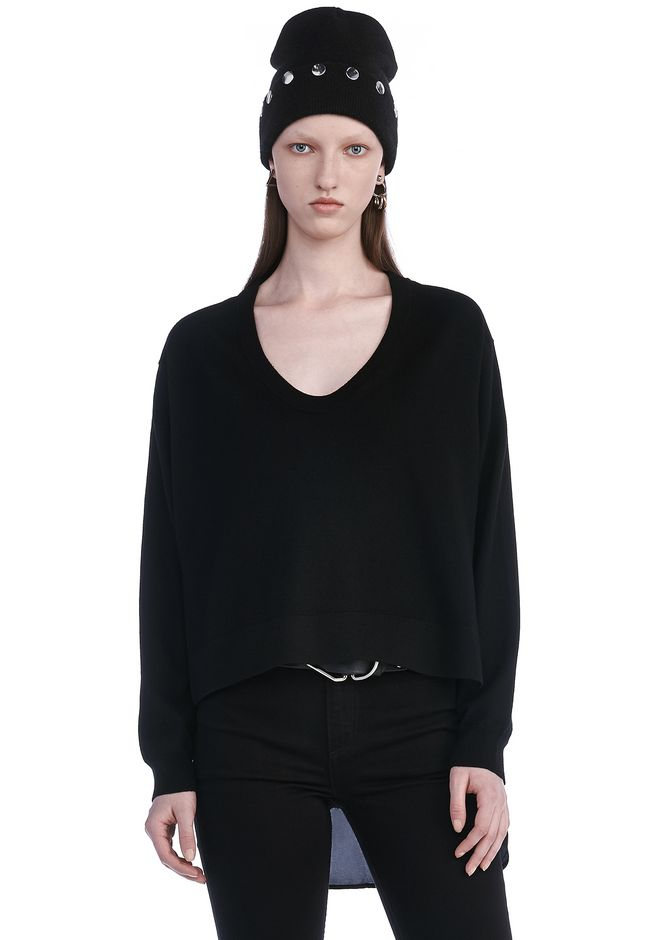 T by ALEXANDER WANG TOPS MERINO KNIT PULLOVER WITH VISCOSE COMBO