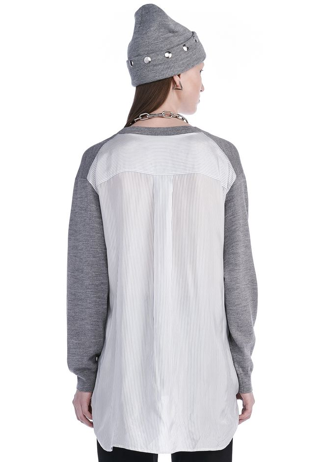T by ALEXANDER WANG MERINO KNIT PULLOVER WITH VISCOSE COMBO  TOP Adult 12_n_d