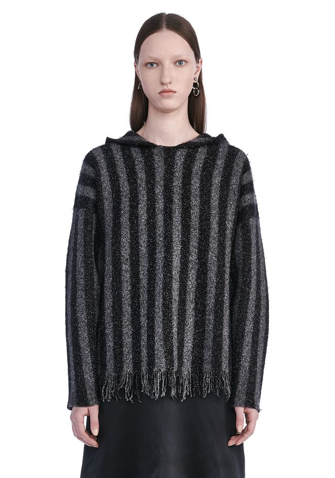 T by ALEXANDER WANG TOPS Women BOILED MERINO STRIPED HOODIE WITH FRINGE HEM