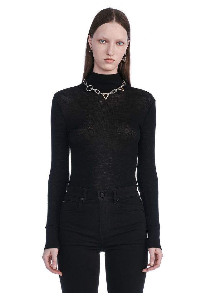 T by ALEXANDER WANG TOPS Women SHEER WOOLY RIB LONG SLEEVE TURTLENECK