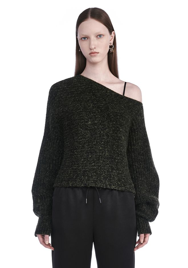 T by ALEXANDER WANG TOPS Women CHUNKY MOHAIR ASYMMETRICAL SWEATER