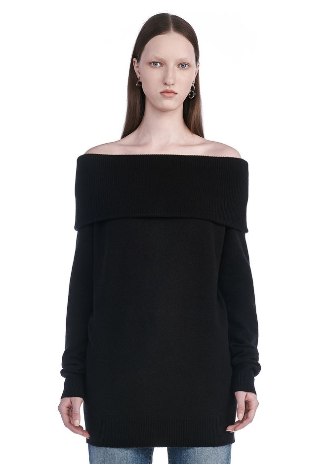 T by ALEXANDER WANG TOPS Women CASHWOOL KNIT OFF THE SHOULDER PULLOVER