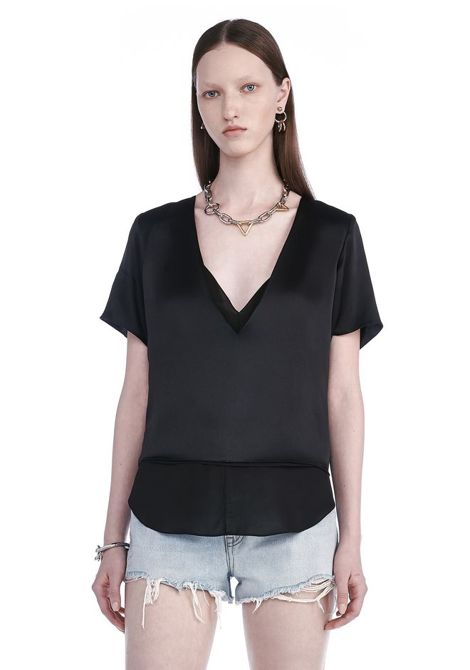 T by ALEXANDER WANG TOPS Women CHARMEUSE SHORT SLEEVE TOP WITH CHIFFON COMBO