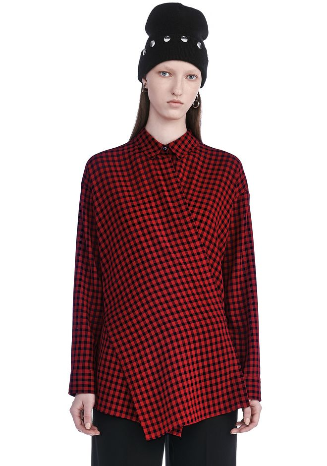 T by ALEXANDER WANG TOPS Women CHECKERED ASYMMETRICAL LONG SLEEVE WRAP BLOUSE
