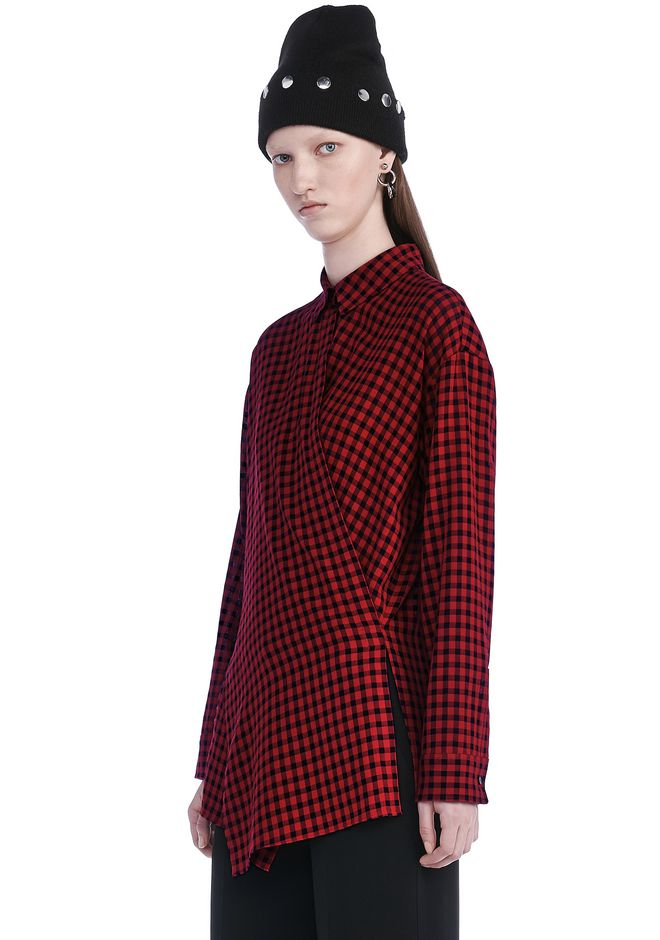 T by ALEXANDER WANG CHECKERED ASYMMETRICAL LONG SLEEVE WRAP BLOUSE TOP Adult 12_n_a