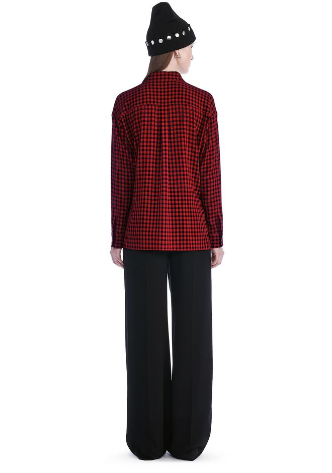 T by ALEXANDER WANG CHECKERED ASYMMETRICAL LONG SLEEVE WRAP BLOUSE TOP Adult 12_n_r