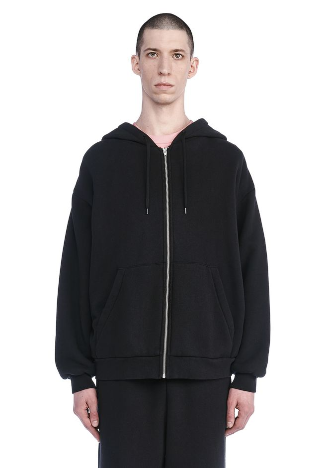 T by ALEXANDER WANG TOPS Men LONG SLEEVE ZIPPERED HOODED SWEATSHIRT