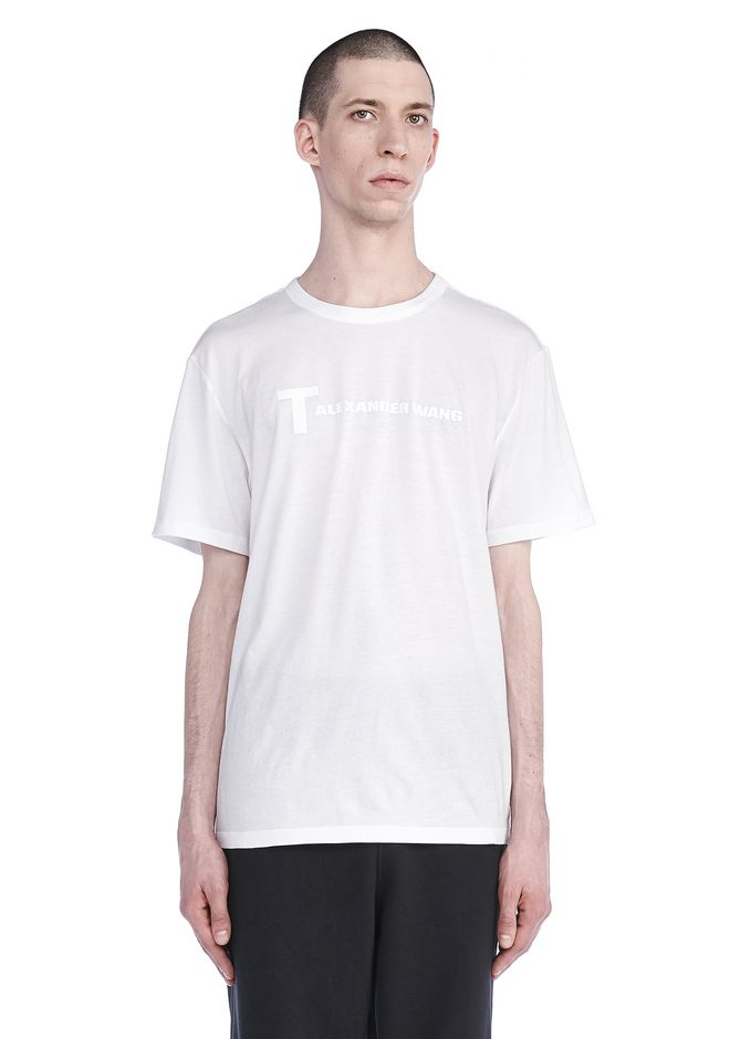T by ALEXANDER WANG TOPS Men SHORT SLEEVE TEE WITH LOGO
