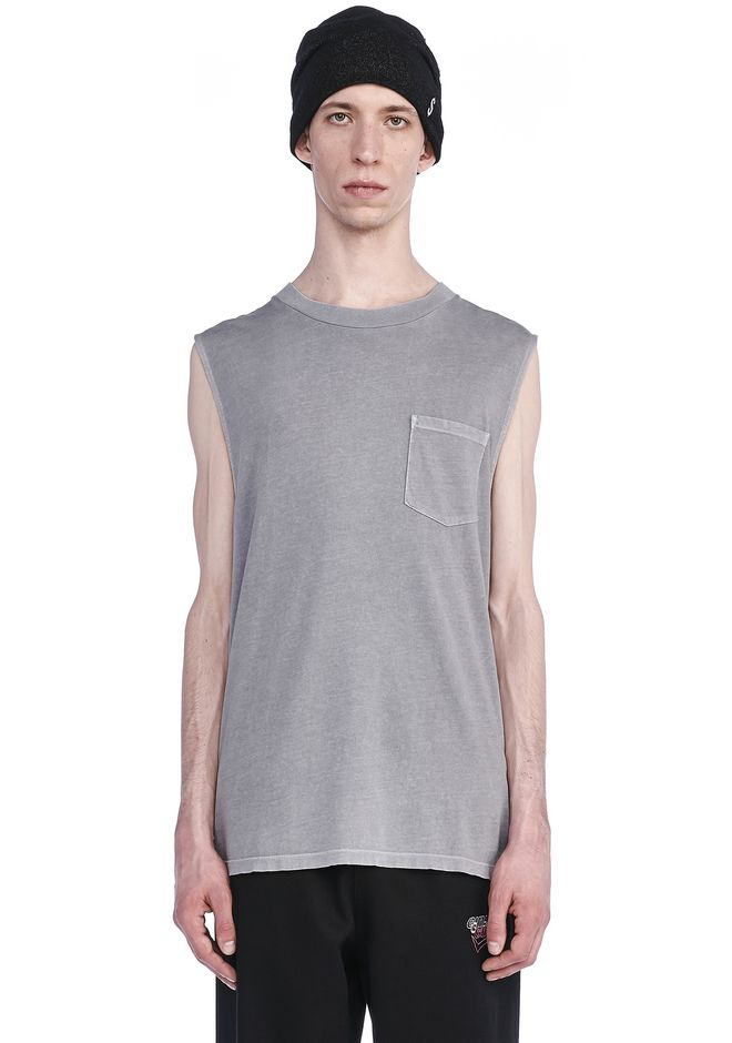 T by ALEXANDER WANG TOPS SUN FADED MUSCLE TEE WITH POCKET