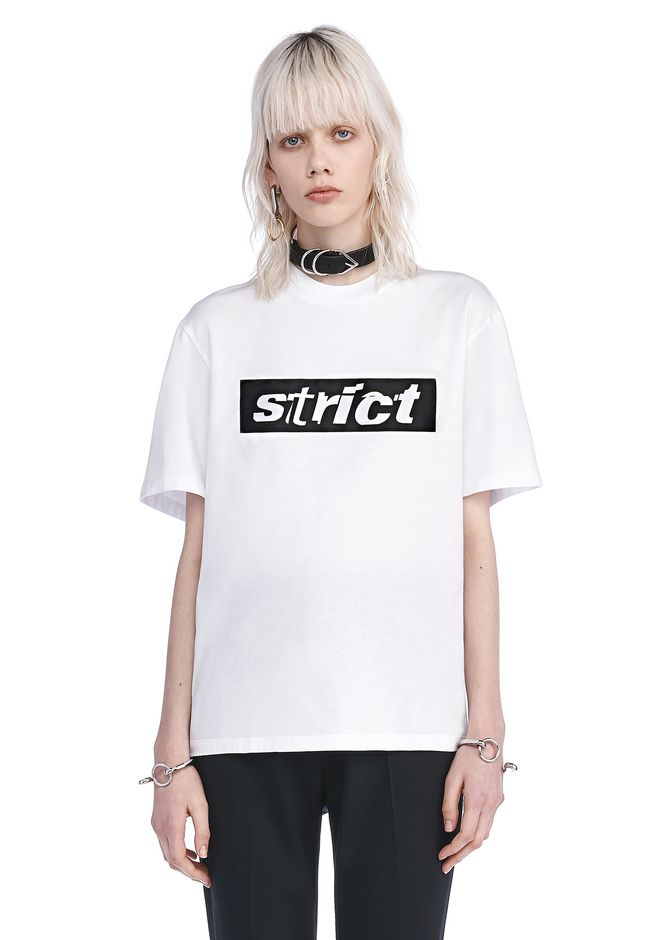 ALEXANDER WANG TOPS Women EXCLUSIVE CREWNECK T-SHIRT WITH PATCH