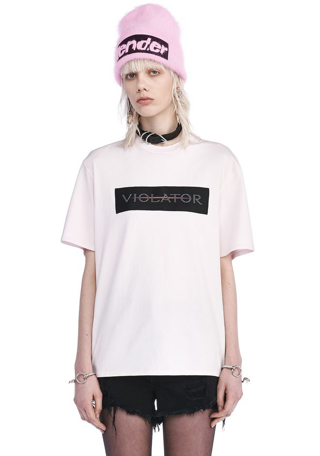 ALEXANDER WANG TOPS Women CREW NECK T-SHIRT WITH PATCH