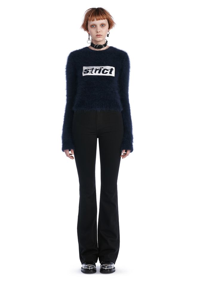 ALEXANDER WANG TOPS SHRUNKEN PULLOVER WITH STRICT EMBROIDERY