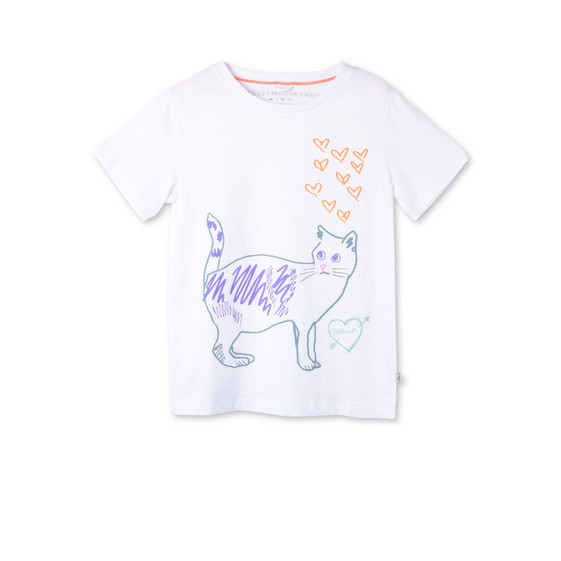 White Arlow Cat Print T-shirt