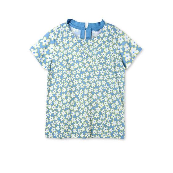 ブルー グラフィックフラワー イスラ Tシャツ