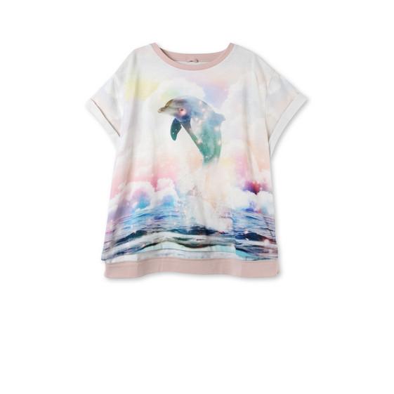 ドルフィン プリント プラム Tシャツ
