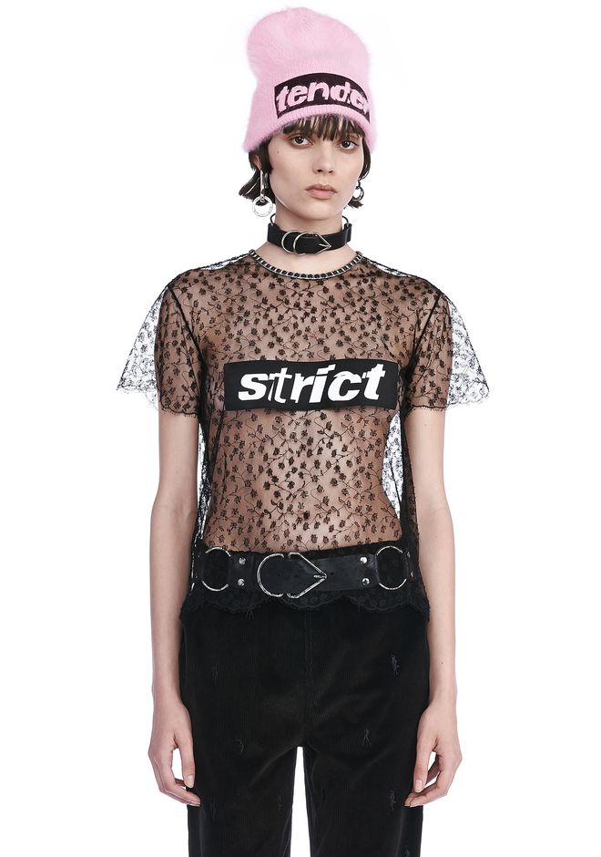 ALEXANDER WANG TOPS Women LACE T-SHIRT WITH STRICT PATCH