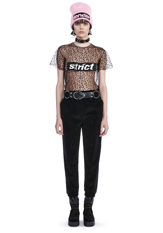 ALEXANDER WANG TOPS LACE T-SHIRT WITH STRICT PATCH