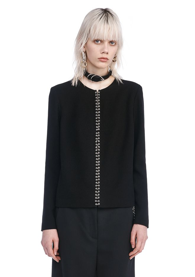 ALEXANDER WANG TOPS Women LONG SLEEVE TOP WITH RING PIERCING DETAIL