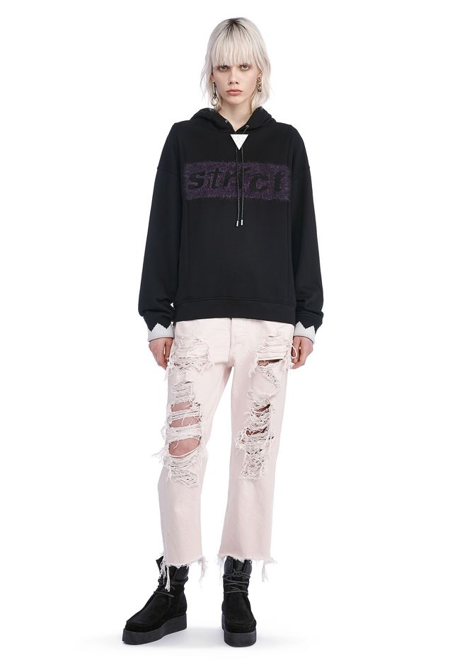 ALEXANDER WANG TOPS OVERSIZED STRICT HOODIE WITH BOLO TIE
